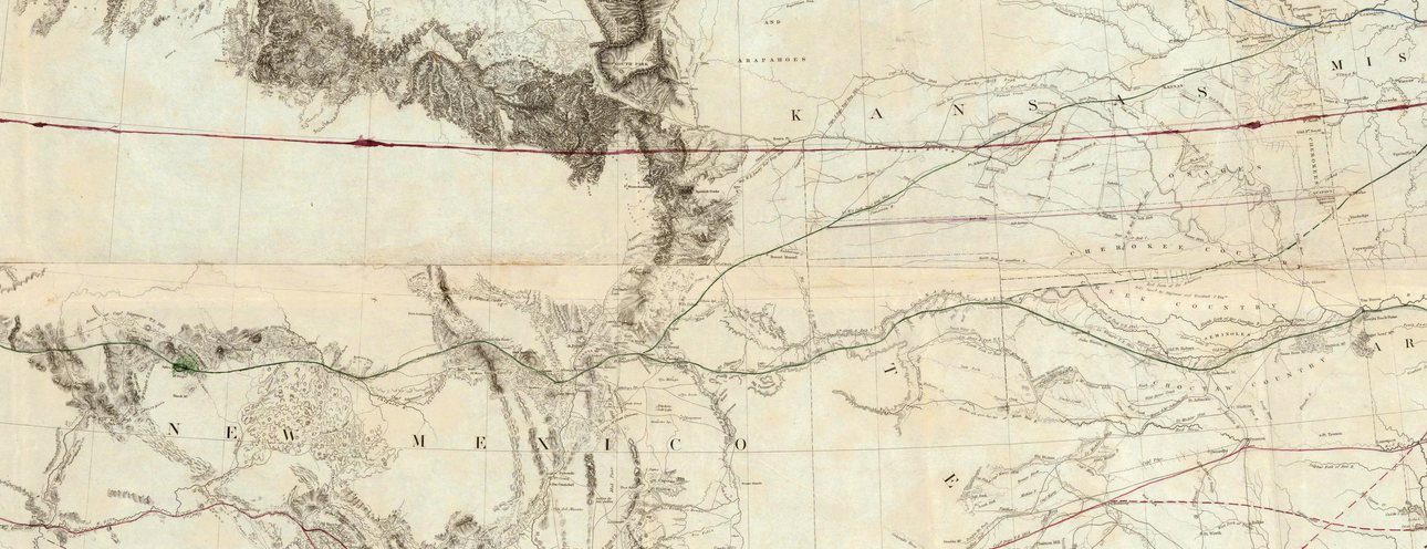 1855 Map - GK Warren - 37th parallel detail