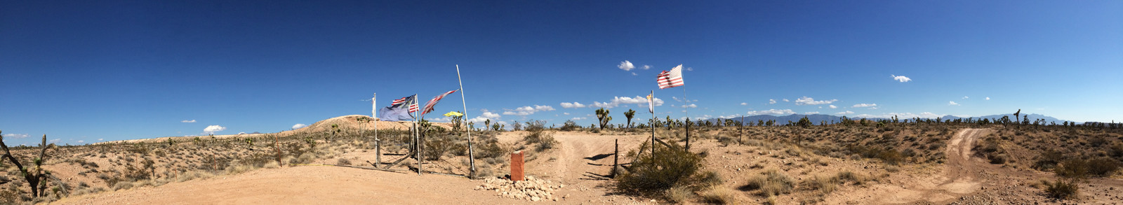 Looking East at Western end of line - at NV/UT/AZ corner  37 deg 0.02376' N Lat  114 deg 3.03582' W Lon