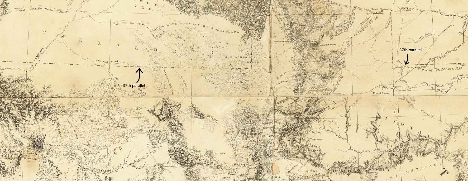 Map Of Arizona 1858.Survey 37th Parallel Project